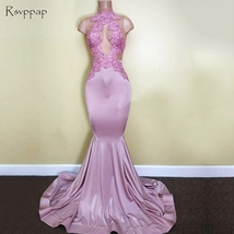 Long Prom Dress 2018 Mermaid Sheer High Neck Sleeveless Top Lace African... - $199.00
