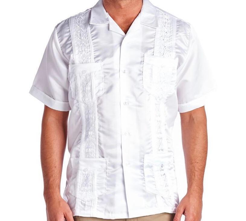New Premium Toddler Boys Kids Junior Guayabera Wedding Baptism Shirt Satin White