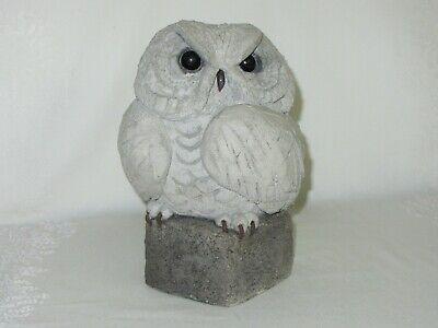 Handcrafted Cement Concrete Owl Figurine Vintage Garden Sculpture Rustic Art