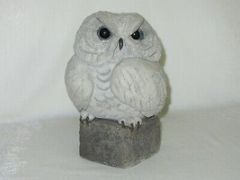 Handcrafted Cement Concrete Owl Figurine Vintage Garden Sculpture Rustic... - $49.49