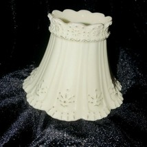 """Yankee Candle Antique White Scalloped 3"""" tall  Lamp Shade Porcelain Retired - $9.72"""