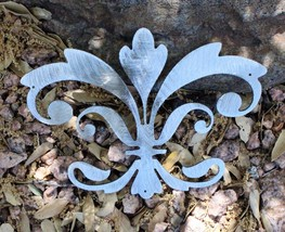 "Ornamental Fleur de Lis Silver Metal Wall Decor 8"" wide x 5 1/2"" tall - $9.99"