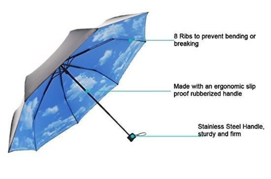 ColorDrip Unisex Adult's Blue Sky White Clouds Folding Travel Umbrella