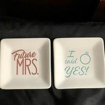 SET OF 2 Future Mrs & I Said Yes Trinket Trays , engagement , bridal sho... - $19.79