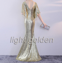 Sexy Golden Bat Sleeve Maxi Long Sequin Dresses Fitted Sequined Cocktail Dress image 11