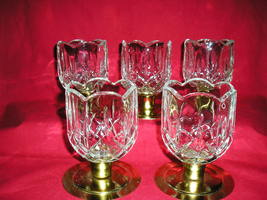 5 Homco Home Interiors  Scalloped Peg Votive Candle Holders W/Cut Diamon... - $39.99