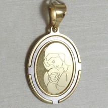 Pendant Medal Oval Yellow Gold White 750 18K Virgo Mary Jane And Jesus, Madonna image 1
