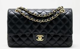"CHANEL 10"" MEDIUM Black LAMBSKIN CLASSIC Double Flap Bag GHW AUTHENTICATED! - £3,355.95 GBP"