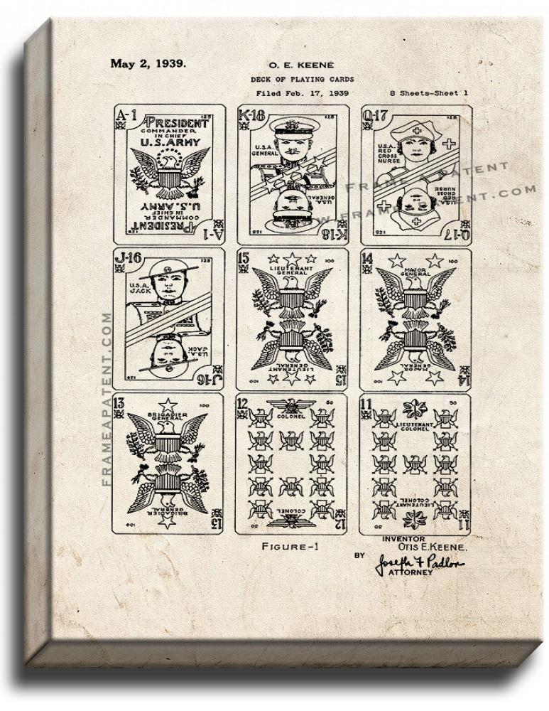 Primary image for Deck Of Playing Cards Patent Print Old Look on Canvas