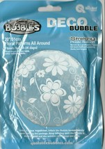 """Qualatex Deco Bubble Floral Pattern All Around  20""""  Stretchy Plastic Balloon - $10.37"""