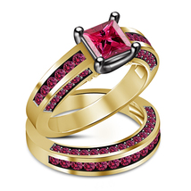 Princess Cut Pink Sapphire Yellow Gold Plated 925 Silver Bridal Wedding Ring Set - $91.67