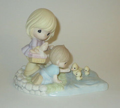 Precious Is Our Family Mom Son Water Feeding Ducks Moments Collectors Cl... - $69.29