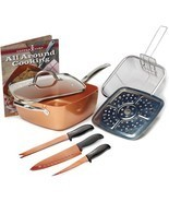 Copper Baking Dish Set Roasting Oven Safe Nonstick Frying Pan Wok 8 PC - €68,84 EUR