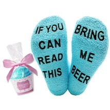 YEXIPO If You Can Read This Wine Socks Crew Beer Fuzzy Slipper Socks Fun... - $15.19