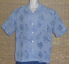 Pineapple Connection Hawaiian Shirt Two-Tone Blue Floral Size Medium - $22.99