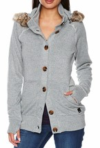 Bench Womens Fine Knit Cotton Poly Bachata Button Down Blue Sweater w Det. Hood
