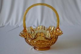 "Fenton Colonial Amber Thumbprint Basket  # 4438 CA 8 1/2"" Tall - $12.38"
