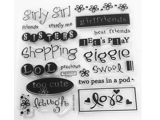 Close to My Heart Girly Girl Clear Cling Acrylic Stamp Set #D1003