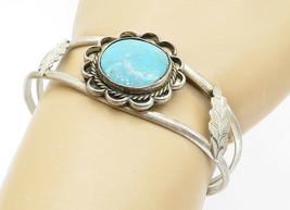 925 Sterling Silver - Vintage Turquoise Leaf Detail Twist Cuff Bracelet ... - $44.05
