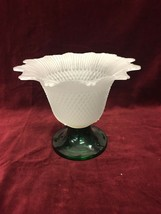 Vintage Frosted TULIP Vase Centerpiece green base 6 in. Mid Century Regency - $31.67
