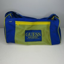 Vintage 90's Guess Waterpro Blue Yellow Water Resistent Sports Duffle Bag - $27.69