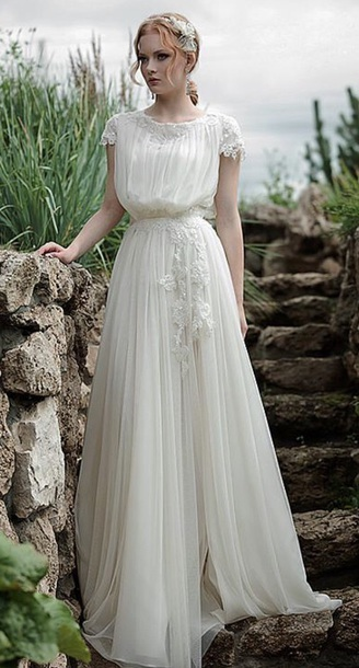 scoop prom dress white chiffon a-line long applique evening dress,HH018