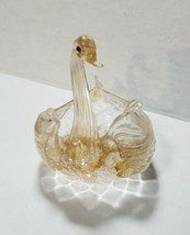 Vintage Venetian hand blown Art Glass Swan Dish quilted dish, clear W/ g... - $9.99
