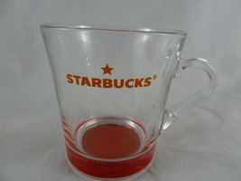 Starbucks Clear Glass Mug With Tinted Red Bottom 8 Oz Pre-owned No Chips - $11.87