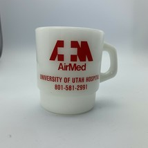 Vintage Anchor Hocking AirMed University Of Utah Milk Glass D Handle Mug Cup - $19.79