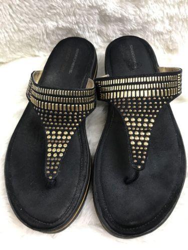 Womens SKECHERS w/ Memory Foam Black Fabric Studded Wedge Sandal Flip-Flop Sz 11