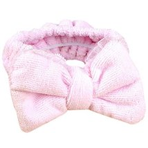 Hair Band Makeup Hair Wash A Face With Hair Hoop Bowknot Headdress(Pink) image 2
