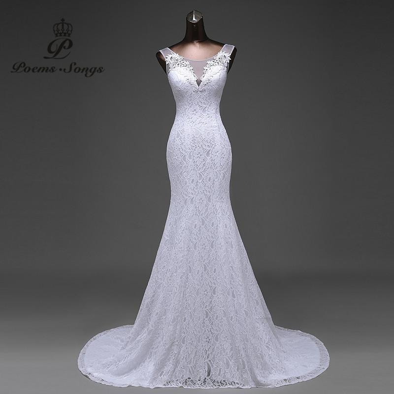 Lace floral mermaid Wedding Dress at Bling Brides Bouquet Online Bridal Store image 6