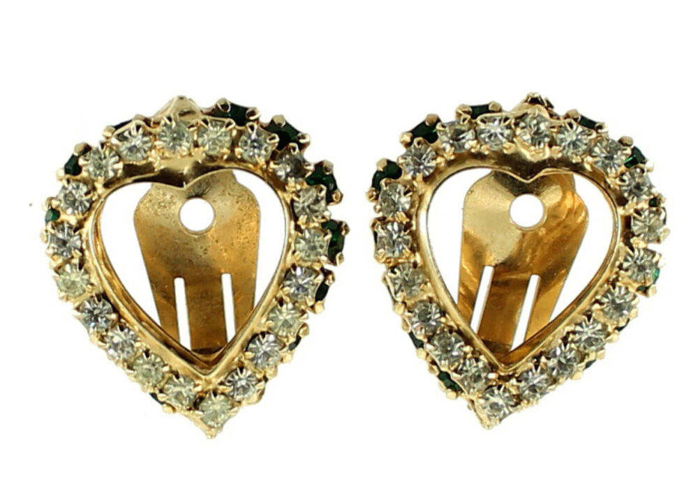 Primary image for VINTAGE WARNER EMERALD GREEN & CRYSTAL RHINESTONE DOUBLE HEART CLIP EARRINGS