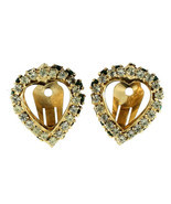 VINTAGE WARNER EMERALD GREEN & CRYSTAL RHINESTONE DOUBLE HEART CLIP EARR... - $60.74