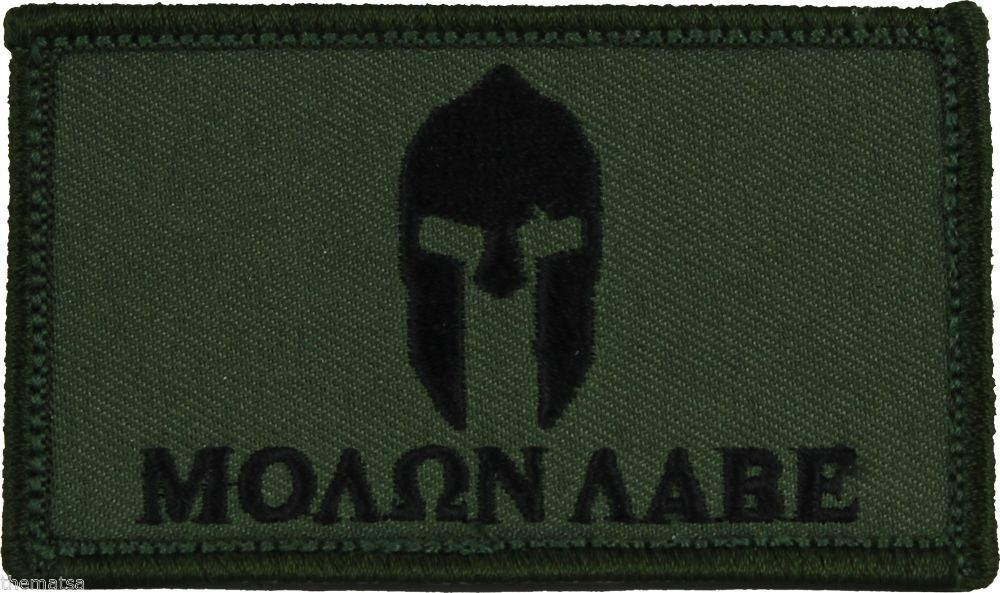 Primary image for MOLON LABE HELMET OD GREEN 2 X 3  EMBROIDERED PATCH WITH HOOK LOOP