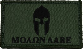 MOLON LABE HELMET OD GREEN 2 X 3  EMBROIDERED PATCH WITH HOOK LOOP - $15.33