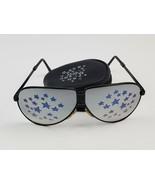 Vintage Folding Aviator Sunglasses Mirror Lens Blue stars w/ matching pouch - $28.04