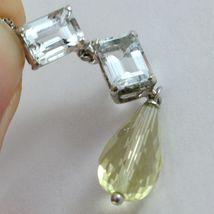 Necklace White Gold 750 - 18K Aquamarine Cut Emerald and Quartz Lemon Drop image 5