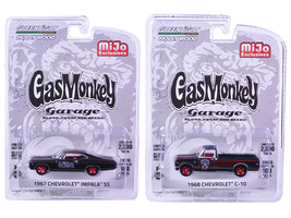 1967 Chevrolet Impala SS and 1968 Chevrolet C-10 Pickup Truck Black Set ... - $32.98
