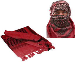Red & Black Shemagh Tactical Desert Keffiyeh Arab Heavyweight Scarf - $13.99