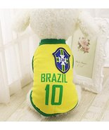 Dog Soccer Jersey – Brazil World Cup Clothes Vest Shirt – For Small Medi... - $5.89