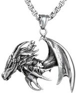 Jenhianeck Punk Titanium Steel Wing Dragon Tag Pendant Necklace With 24 ... - $35.14