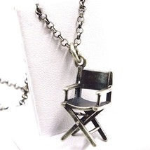 Pendant Necklace Silver 925,Burnished Satin,Chair Time Machine Director,... - $79.49