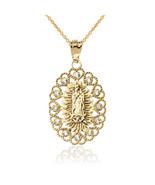 10K Yellow Gold Virgin Mary Lady Of Guadalupe Diamond Filigree Pendant N... - $149.99+