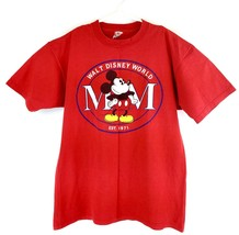 VTG Disney Men's Red Walt Disney World Spell Out Mickey Mouse T-Shirt Sz XL - $49.49