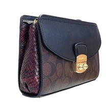 NWT Coach Signature brown black  Flap Clutch with Snake Embossed Leather... - $78.20