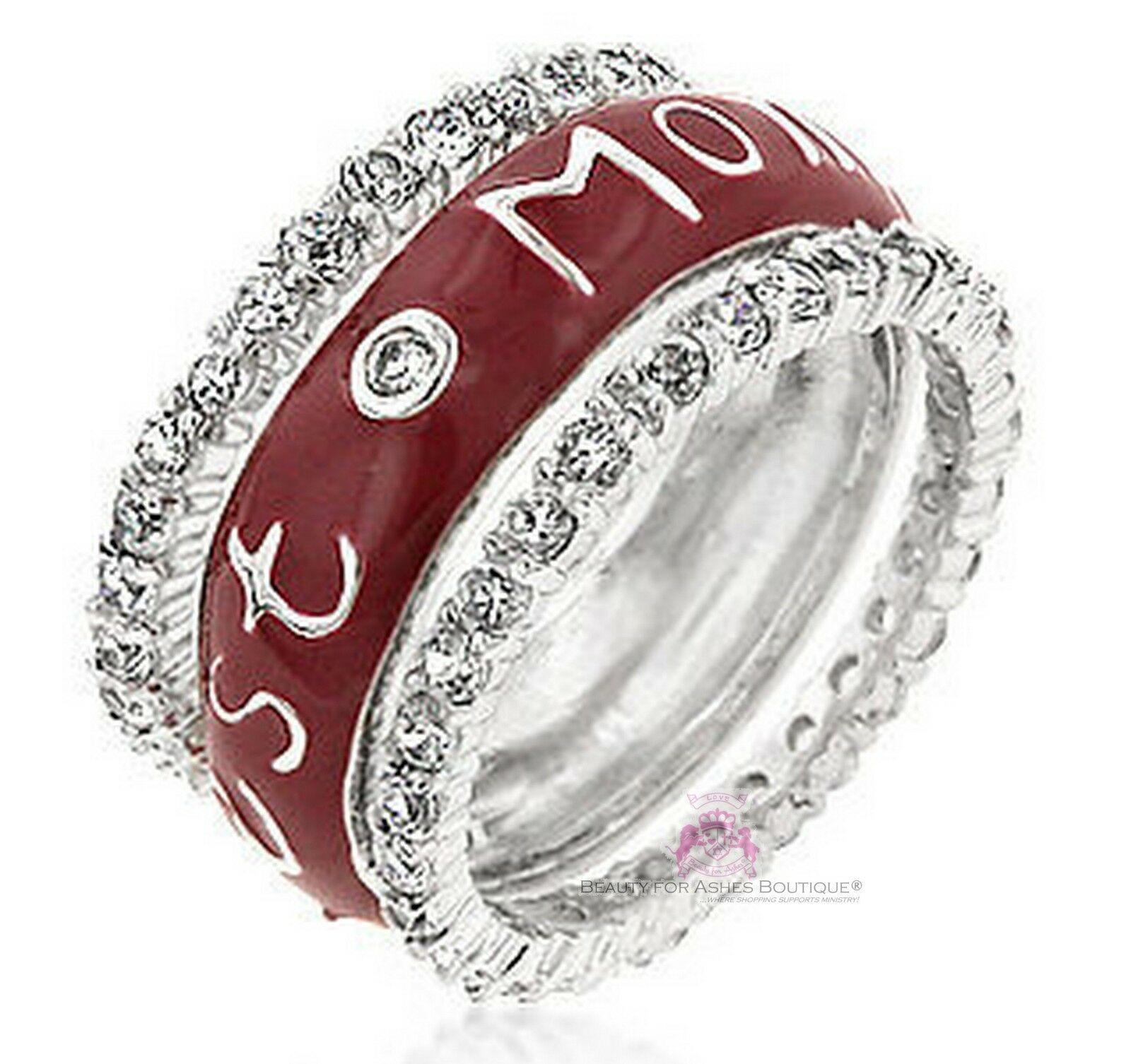 BFA Best Mom Mother's Day Gift Enamel Eternity Band Cz Set of 3 Sterling Silver - $39.50