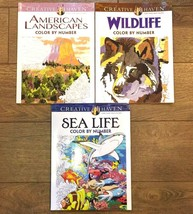 LOT 3 ADULT COLORING BOOK SEA LIFE WILDLIFE AMERICAN LANDSCAPES COLOR BY... - $13.99