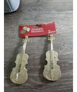 Christmas Ornament Set Of 2 Glittery Gold Cello Instruments. - $13.67