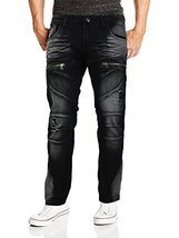 Contender Men's Moto Quilted Zip Distressed Ripped Denim Jeans (36W x 32L, 9FT23